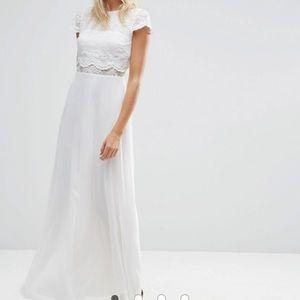 ASOS Crop Top Lace Maxi Dress